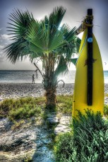Surfboard shower.