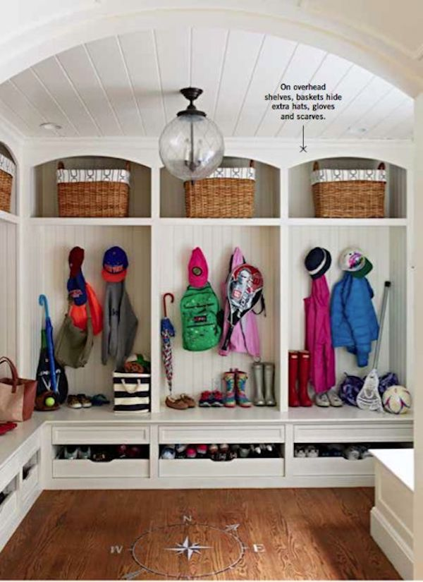 Smart Family Storage Ideas in our built ins in mudroom