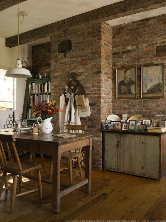 exposed brick country kitchen