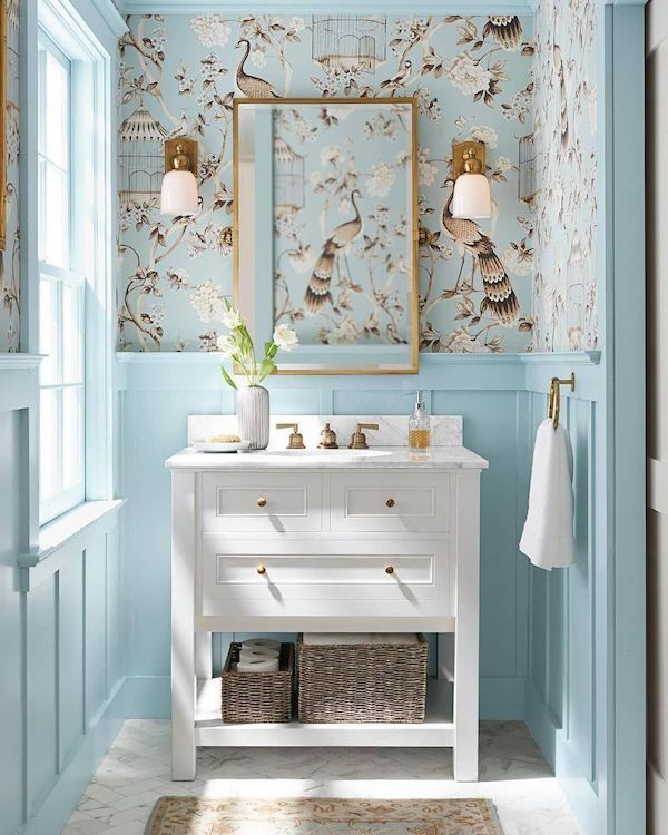 Perfect Powder Room Ideas in a blue wallpaperd bathroom