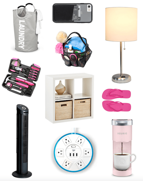 collage of dorm room ideas, decor and essentials for college