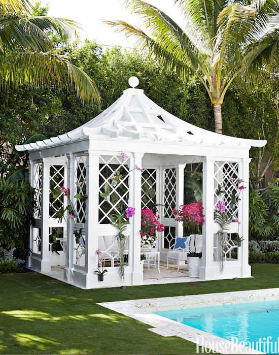 pagoda style pool house in Palm Beach