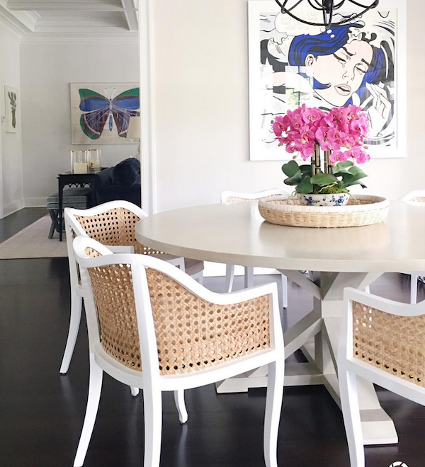 cane dining chairs in our home