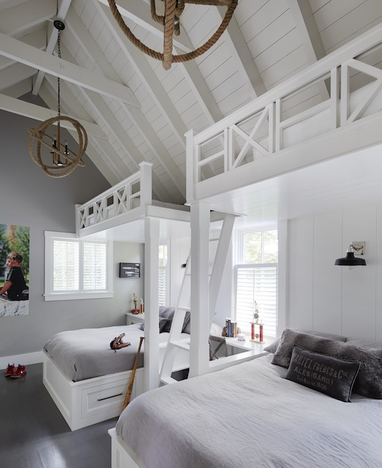 all white bunk room