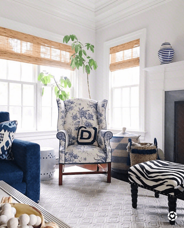 blue and white transitional familly room