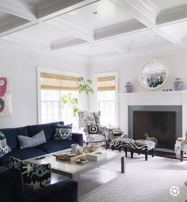 white is the best ceiling paint on family room coffered ceiling