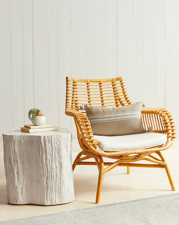 rattan chair from the Serena Lily Spring Design Sale