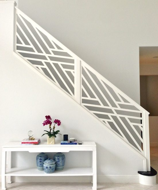 Chippendale stair railing painted white