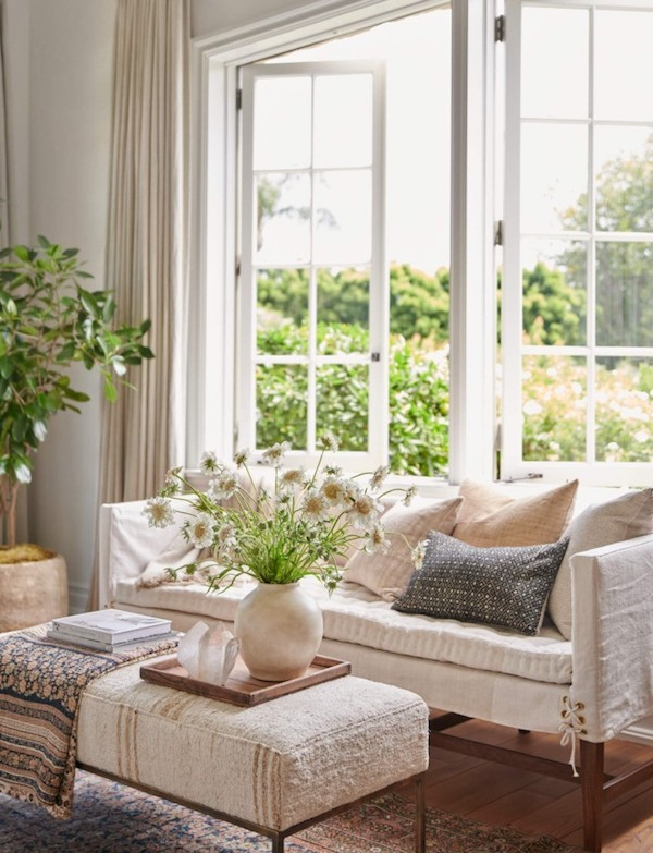 open french doors with couch and pillows
