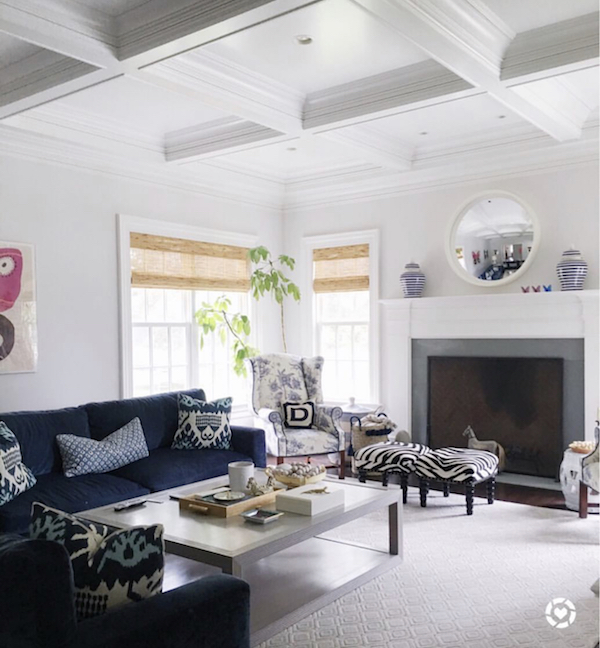 blue and white family room with calm paint wall color