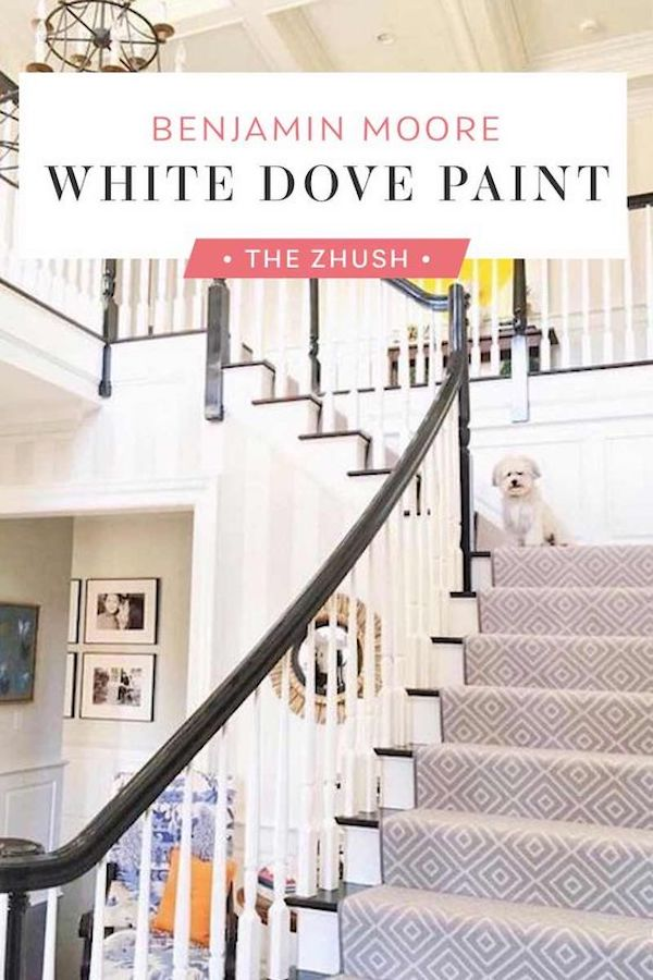 Image to pin on White Dove paint with a staircase