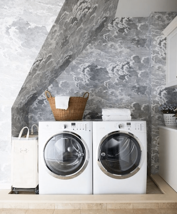 laundry room with hand towels folded