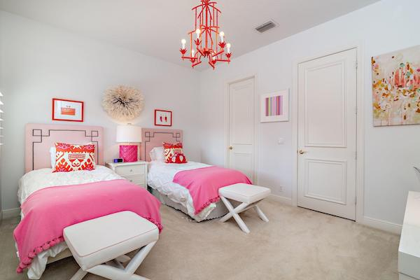 Girls bedroom with white walls