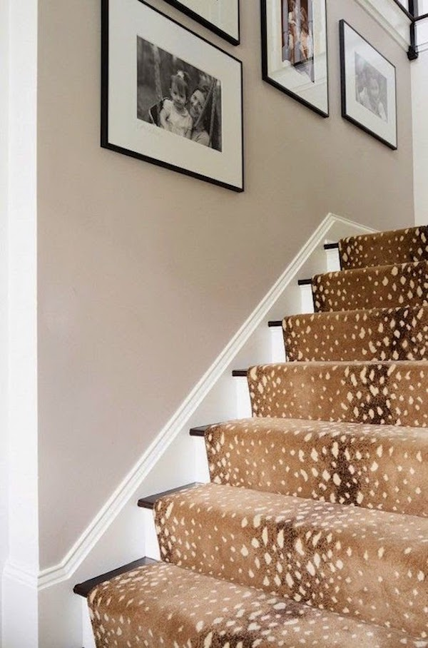 gray staircase wall with animal print stair runner rug