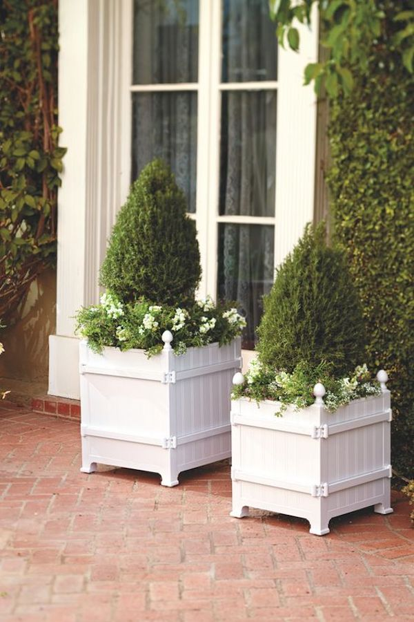 white wood beautiful garden containers