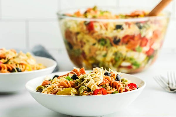 easy Italian pasta salad close up in bowl