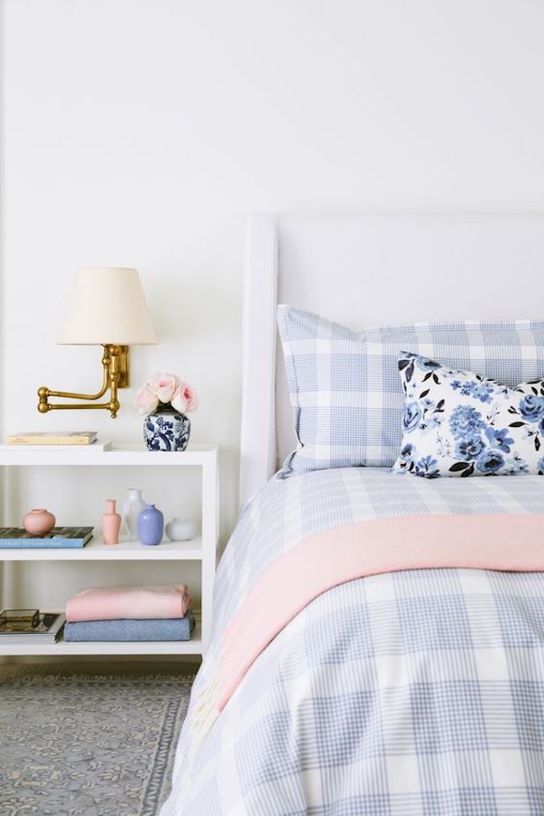 blue and white themed bedroom from interior designer owned shop