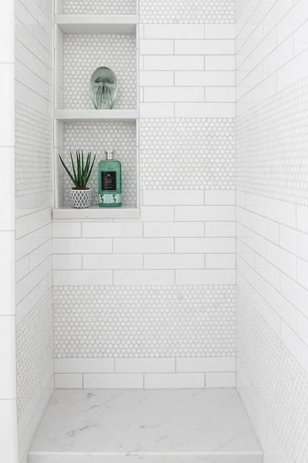 white pennny tile shower