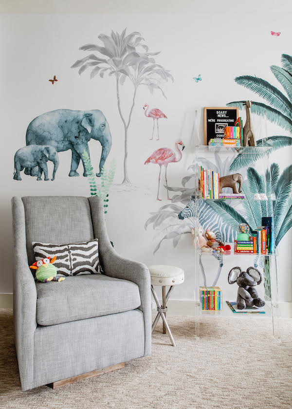 gray glider in modern safari jungle baby's room