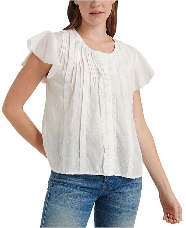 white flutter sleeve top for women from Amazon