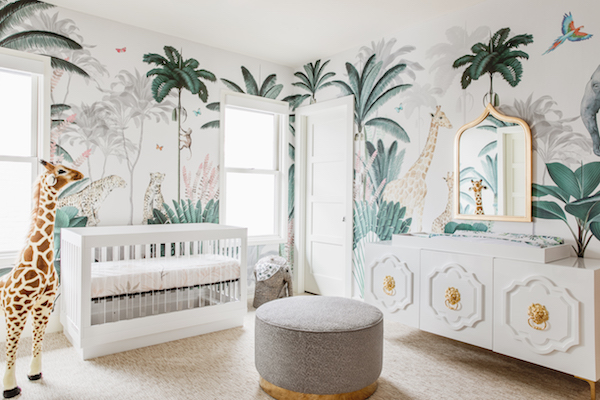 modern crib in safari jungle nursery