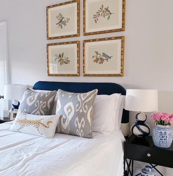 Benjamin Moore Chantilly Lace on cream paint bedroom wall