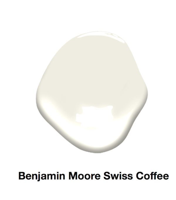 cream color paint sample of Swiss Coffee by Benjamin Moore