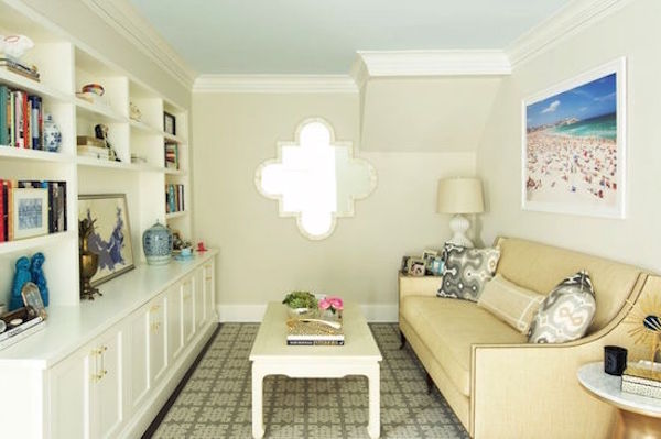 White Dove painted bookcases and Edgcomb Gray walls in sitting room