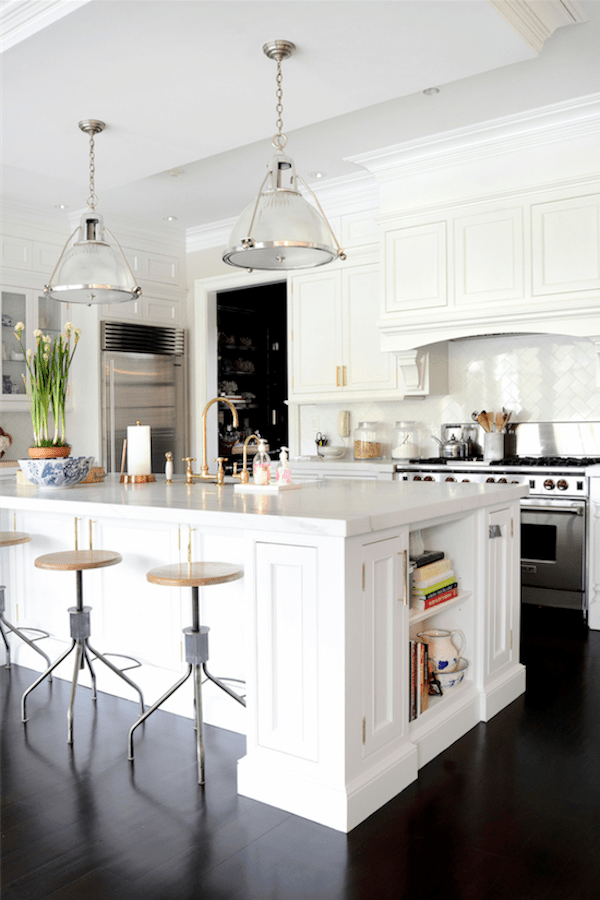 white kitchen with Elephant's Breath paint by Farrow and Ball on the walls.