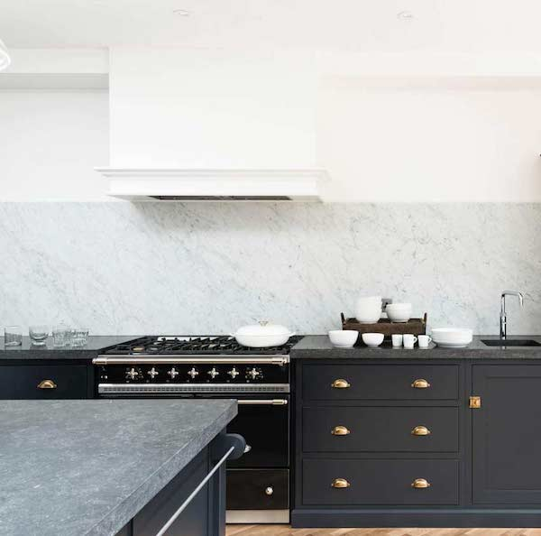 Railings by Farrow and Ball paint on modern kitchen lower cabinets