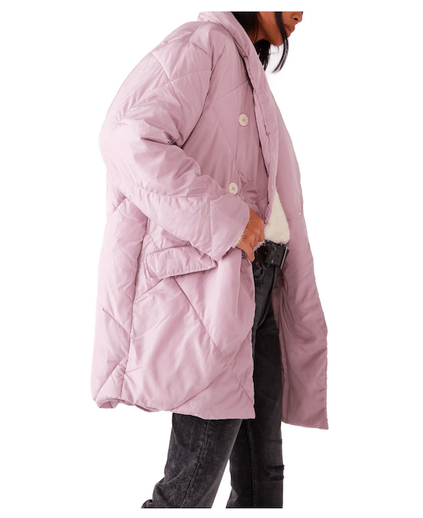Free People Pink puffer coat