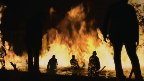 a screen shot of the fire lake in Walking Dead