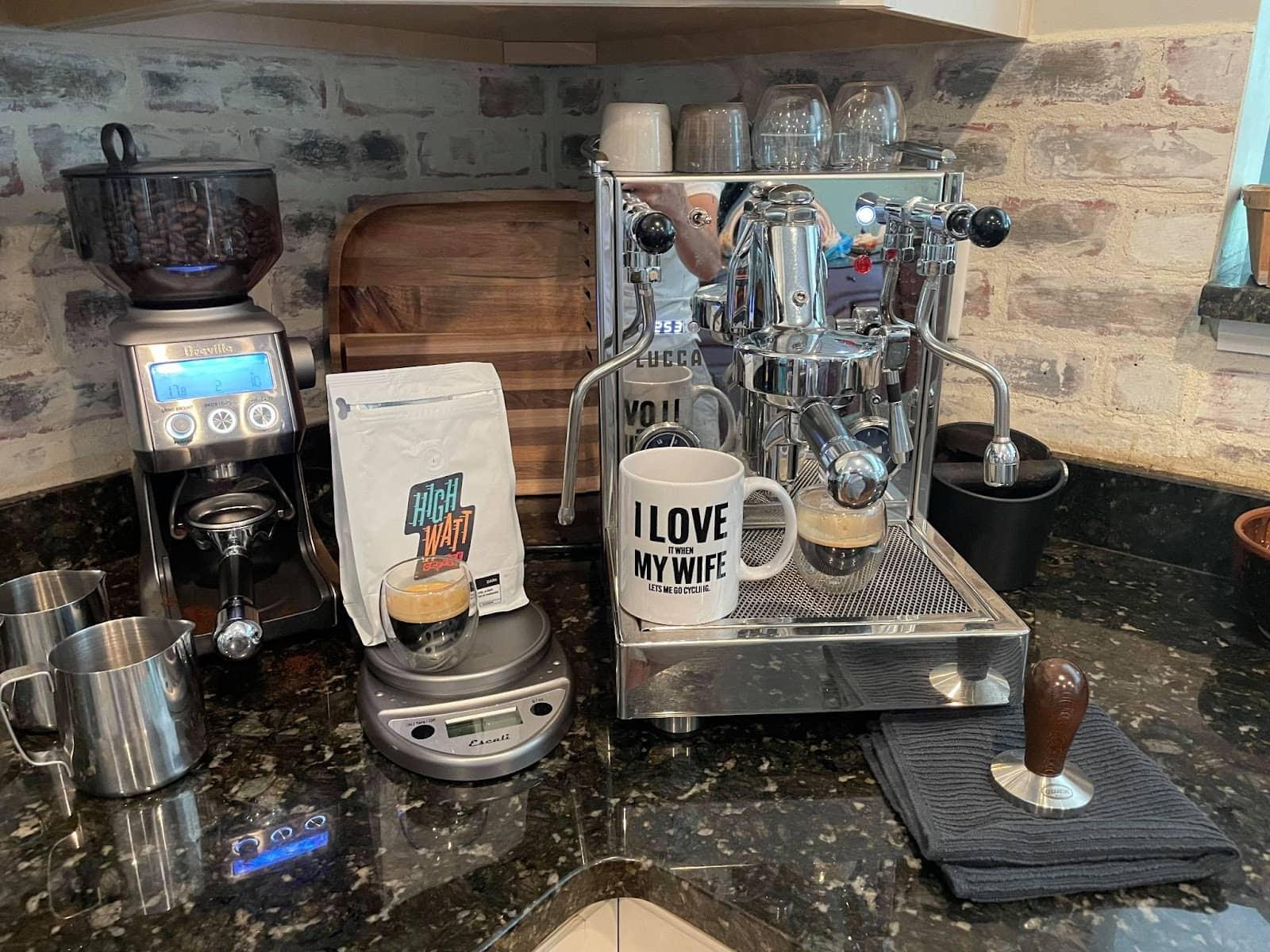 high watt coffee brewing setup