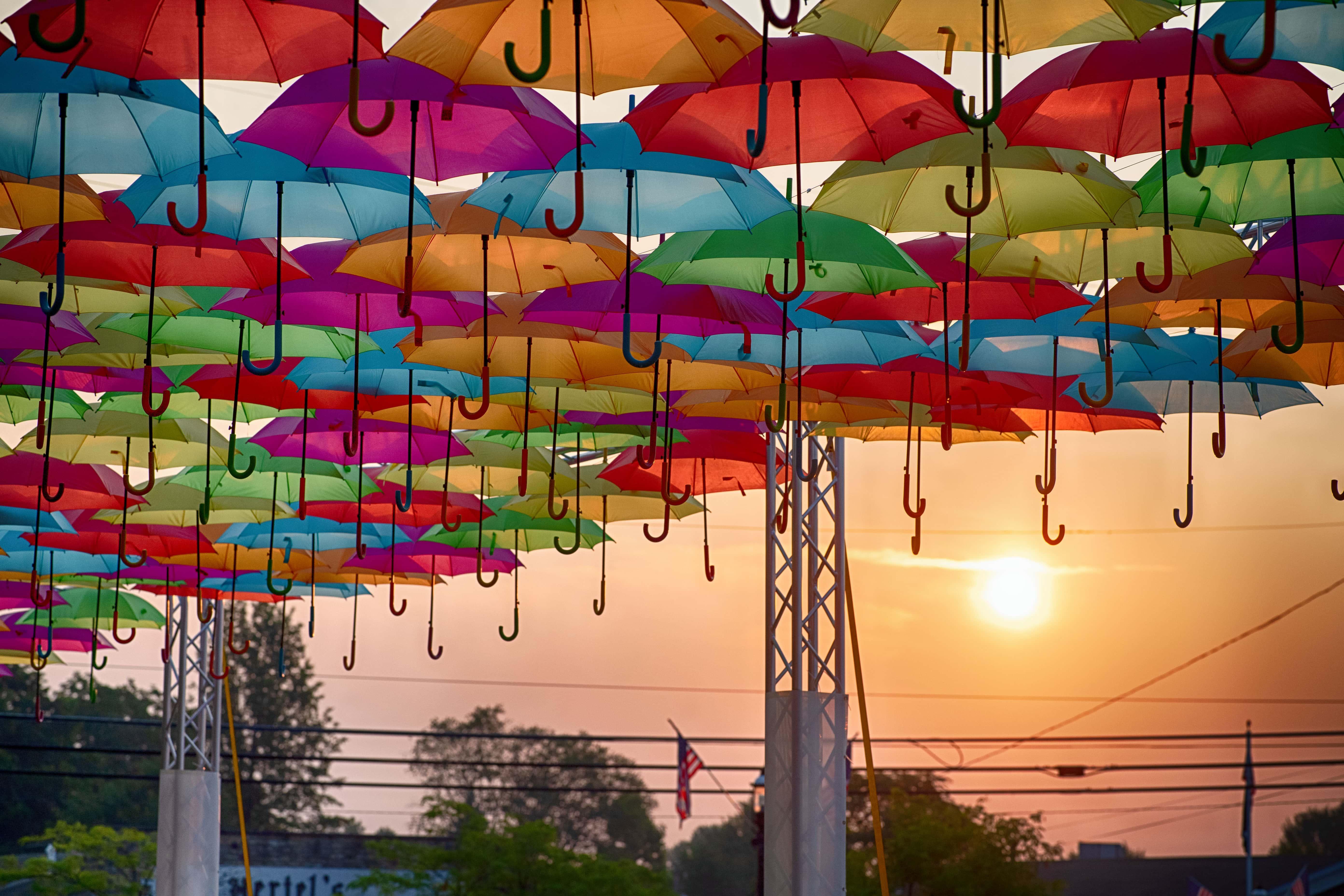 Umbrella Art in Downtown Batesville