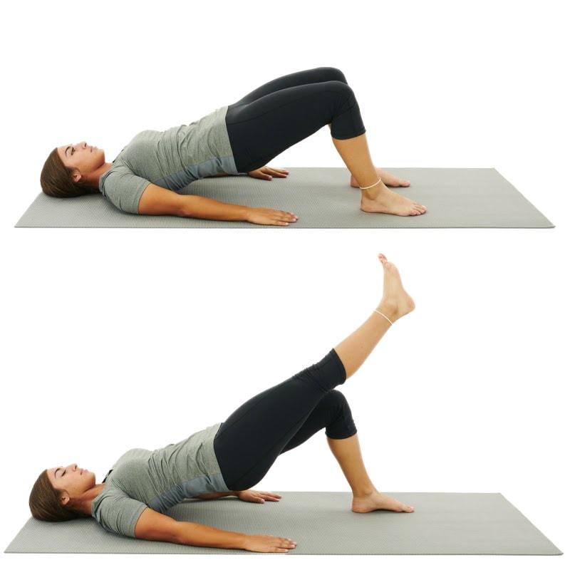 bridge with alternate knee extension