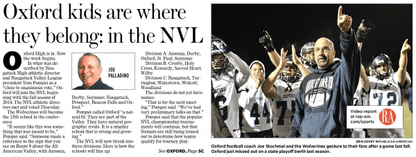 The Feb. 23, 2013, edition of the Republican-American featured Oxford's move to the NVL as its top sports story.