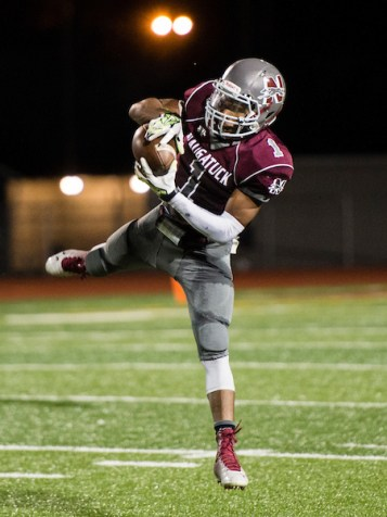 Naugatuck's Antoine Sistrunk accounted for both Naugy touchdowns in the win over Crosby. (Erin Covey/RA Archives)