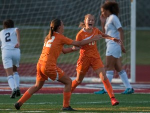 Watertown's Meadow Mancini (10) celebrates her goal with teammate Ashley Gugliotti (12) during their against Naugatuck  game Wednesday at Naugatuck High School. Jim Shannon Republican-American