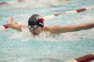 NAUGATUCK, CT- 3 February 2016-020316EC01-   Naugatuck's Nicholas Ryan wins the 100 Butterfly event Wednesday night against Torrington with a time of 1:00.33. Erin Covey Republican-American