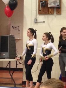 Woodland freshmen gymnasts Stephanie, left, and Kristina Poynton. (photo contributed)