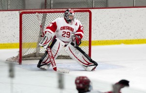 Cheshire's goalie Jake Verneris (29) in the net for their game against Watertown-Pomperaug Wednesday at the Spurrier-Snyder Rink on the Wesleyan University campus in Middletown.  Jim Shannon Republican-American