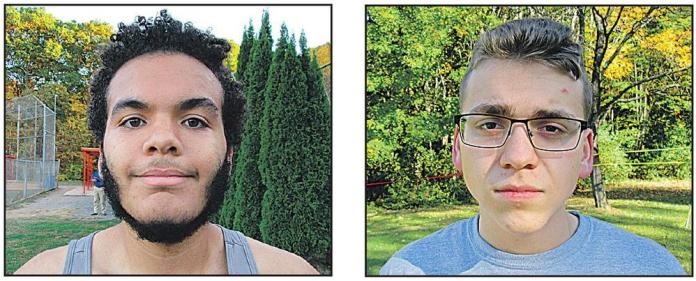 Naugatuck cross country runners Caleb Brito, left, and James Clark each have lost more than 50 pounds since joining the Greyhounds cross country team.