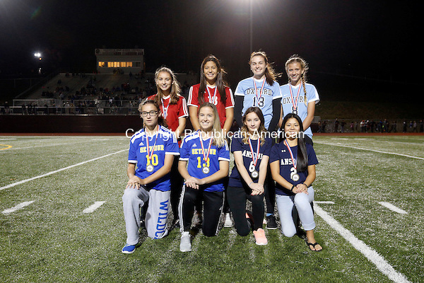 Naugatuck, CT- 03 November 2016-110316CM16- The girls NVL Copper Division all stars: Front row, left to right: Patricia Jurkowski, Melyssa Gagliardi, Seymour; Ilia Bachman, Kaitlyn Sengphilom, Ansonia. Back row: Ashleigh Schlemmer, Annalisa Salazar, Derby; Kelly Ward, Jess Kondic, Oxford. Christopher Massa Republican-American (Christopher Massa/Republican-American)