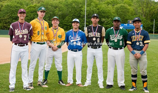 WATERBURY, CT-052317JS28- Members of the All-Brass baseball team, from left, Jimmy Edwards -Sacred Heart; Chris Flynn-Holy Cross; Mike Keating-Holy Cross; Eli DeJesus-Crosby; Adrian Valez-WCA; Jalen Monroe-Wilby and Adrian Rivera-Kennedy. Missing is Will Morales of Sacred Heart. Jim Shannon Republican-American (JS)