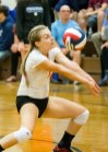 Northwestern's Morgan Twombly bumps the ball during their Berkshire League volleyball matchup against Nonnewaug on Tuesday. Nonnewaug would go onto win, 3-2. Christopher Massa Republican-American