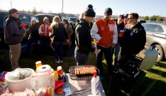 WATERTOWN, CT-112317JS01- Watertown fans and alumni tailgate in the parking lot prior to Watertown's Thanksgiving Day game against Torrington Thursday at Watertown High School. Jim Shannon Republican-American