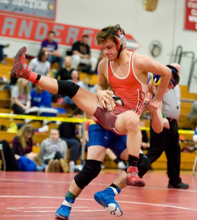 WINSTED, CT-021018JS11-- Gilbert's Nick Barber takes down Derby's Jake Ferguson as they compete in the 132 lb. class finals during the Berkshire-Valley Post Season Invitational held Saturday at Northwestern Regional High School. League Jim Shannon Republican-American