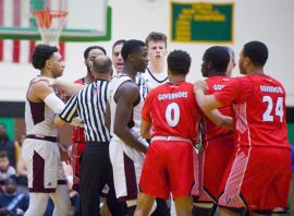 Sacred Heart and Wilbur Cross players had to be separated after a hard foul on Sacred Heart's Asian Gaiter during their Division I quarterfinal game Monday at Wilby High School in Waterbury. Jim Shannon Republican-American