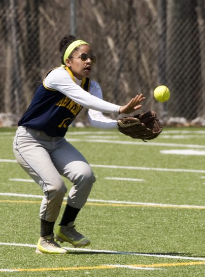 WATERBURY, CT-042818JS21- Kennedy's Shyan Perez (11) makes. Arunning catch on a fly ball to the outfield during their game against Sacred Heart Saturday at Kennedy High School. Jim Shannon Republican American