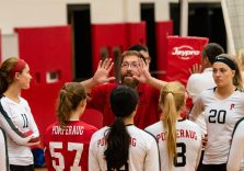 Pomperaug Gilrls Volleyball Head coach Tim Zaprzalka talks to his girls in a timeout as Pomperaug hosts Seymour in a girls volleyball scrimmage at Pomperaug High School in Southbury on Monday afternoon. Bill Shettle Republican-American